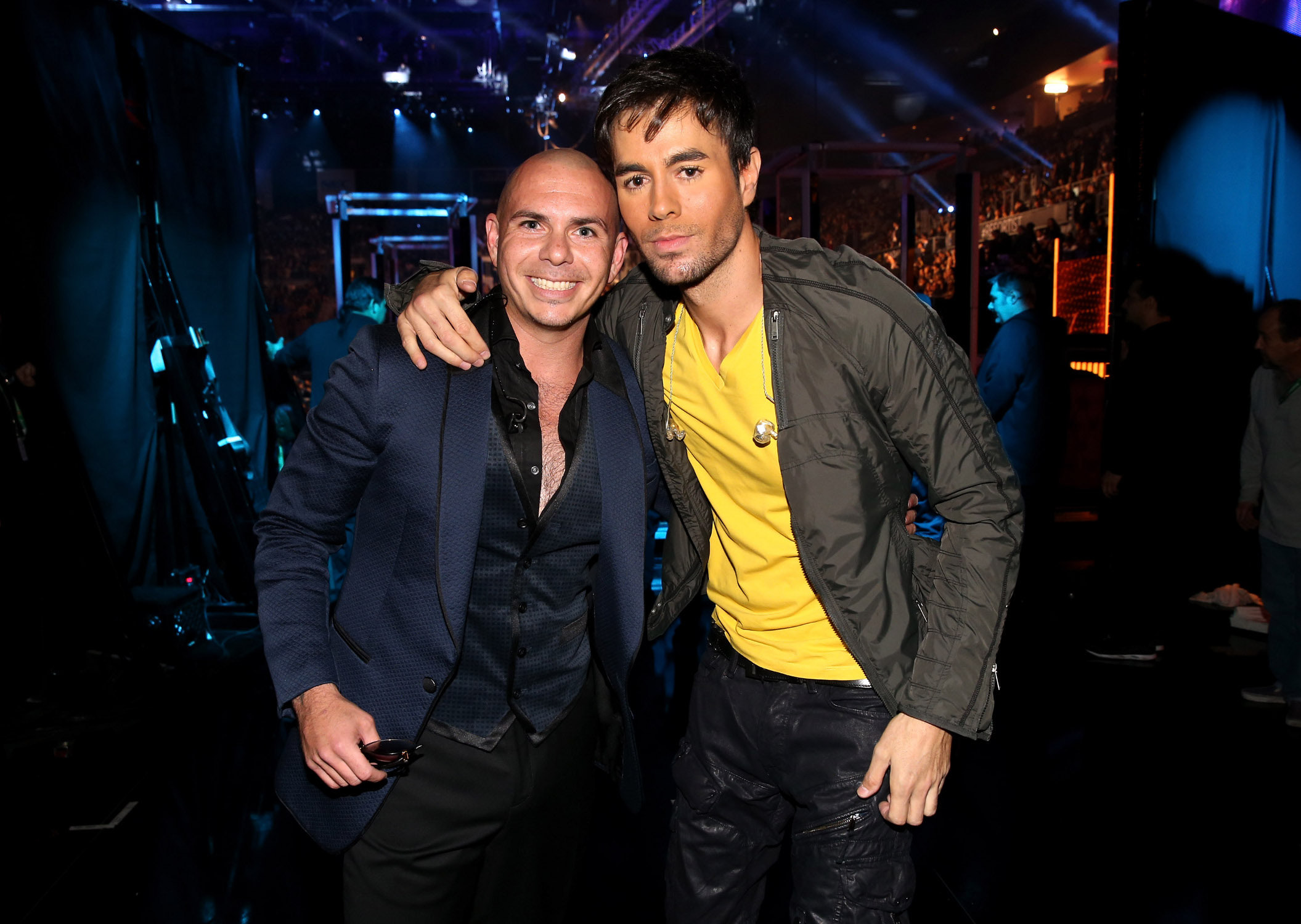 pose backstage during the 14th Annual Latin GRAMMY Awards held at the Mandalay Bay Events Center on November 21, 2013 in Las Vegas, Nevada.